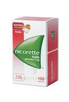 Nicorette 2 mg Gomme à mâcher médicamenteuse sans sucre fruits Plq/105 à YZEURE