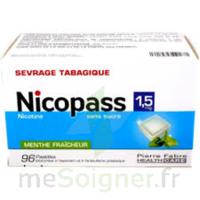 Nicopass 1,5 mg Pastille sans sucre menthe fraîcheur Plq/96 à YZEURE